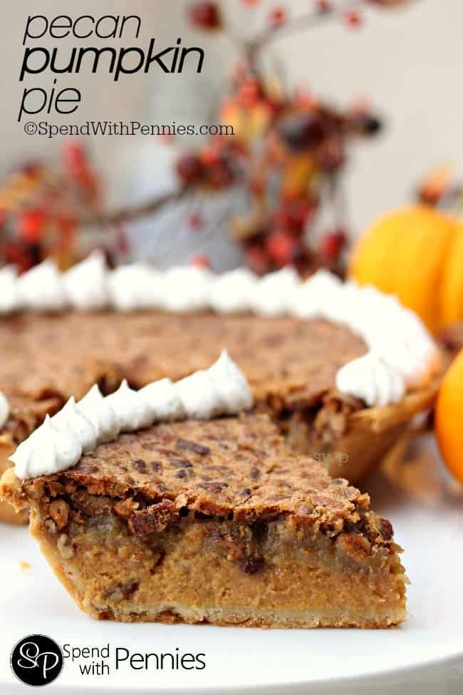 Pumpkin pecan pie slice with whipped cream