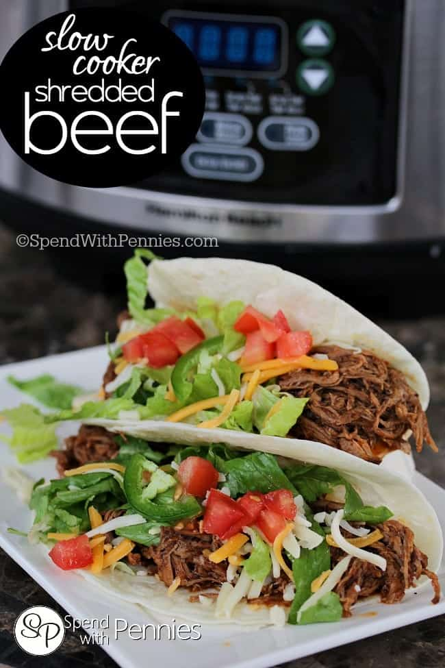 Slow Cooker Shredded Beef! Easy seasoned beef cooked until fork tender ...