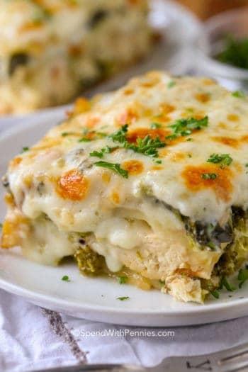 Close up of Creamy Chicken Lasagna