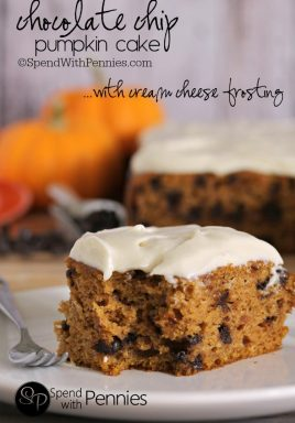 Slice of pumpkin cake with cream cheese frosting