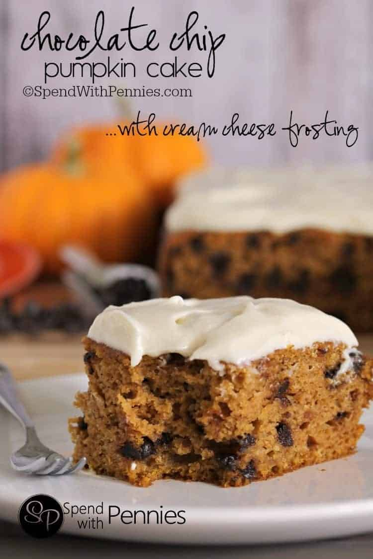 Chocolate Chip Pumpkin Cake with Cream Cheese frosting.