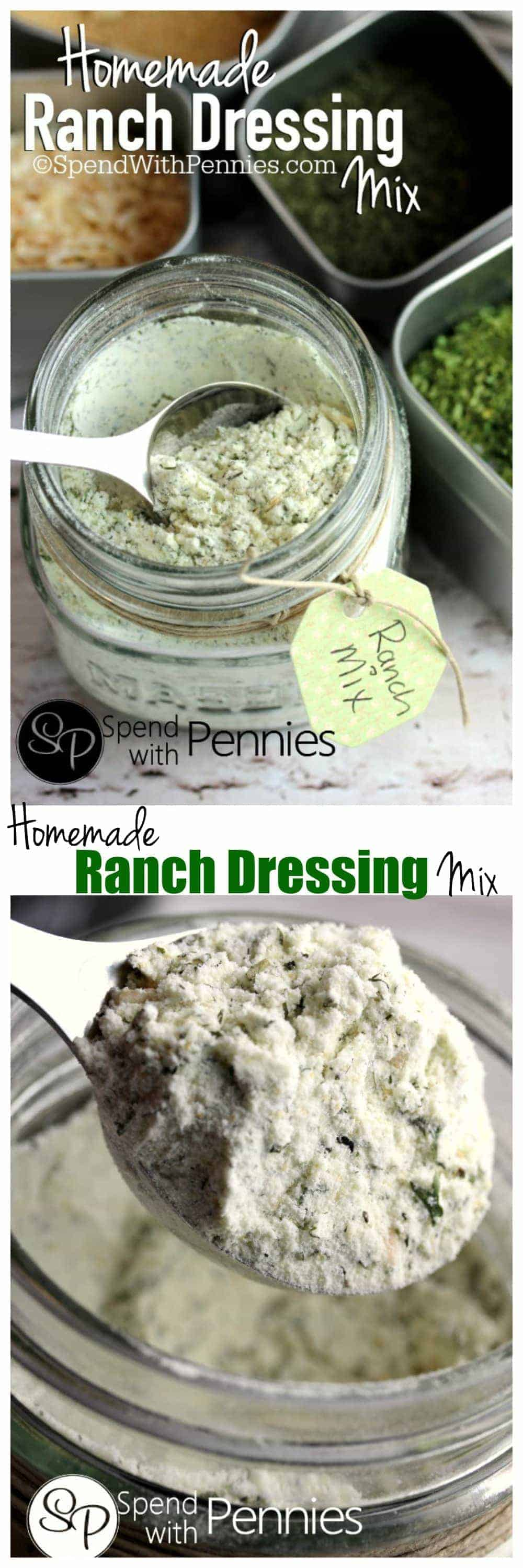 Homemade Ranch Dressing Mix n a jar with a spoon, a closeup of a spoon of ranch dressing mix