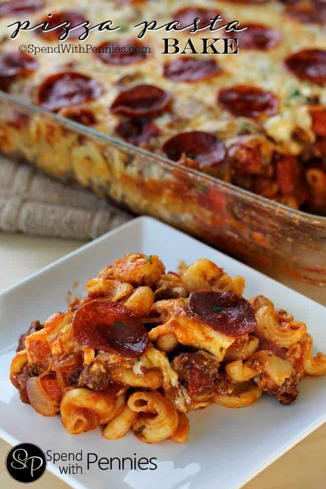 Pizza Pasta Bake! This easy cheesy dish layers up pasta with a zesty fully loaded sauce & tons of gooey cheese! Yum!