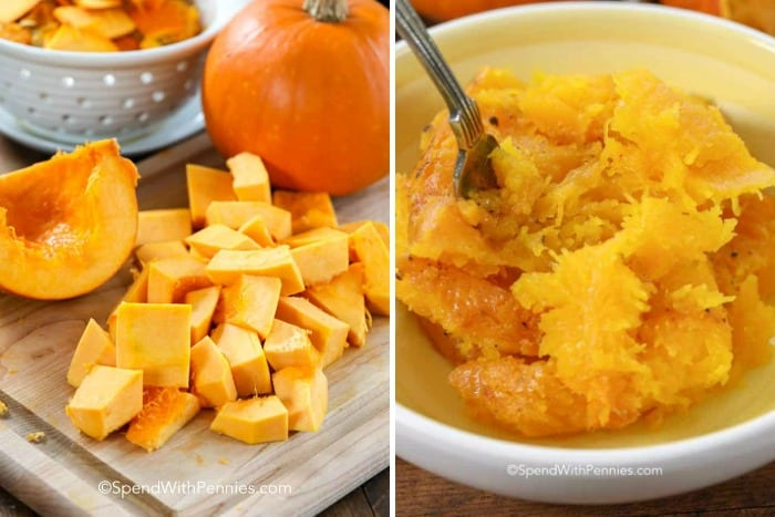 Cubed pumpkin on a wooden board and cooked pumpkin in a bowl with a fork