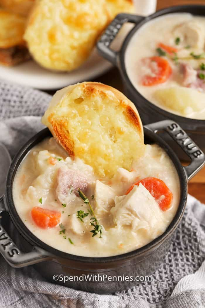 Chicken Cordon Bleu Soup with cheese bread