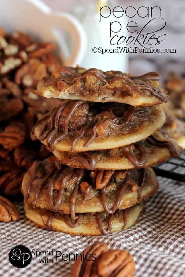 pecan pie cookies in a stack