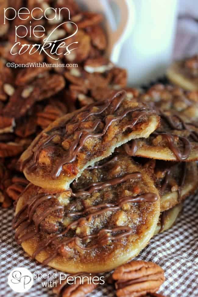 Pecan Pie Cookies with one with a bite out of it