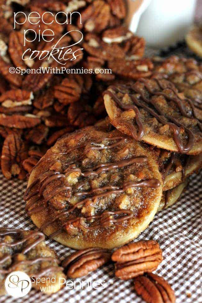Pecan Pie Cookies!  These have a deliciously sweet, caramel-y, nutty filling with a flaky pastry!  Easy to make, easier to eat!