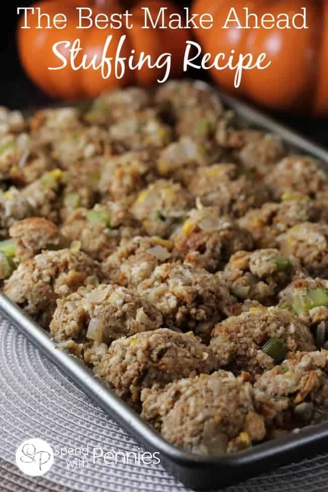 Make ahead turkey stuffing on a baking sheet.