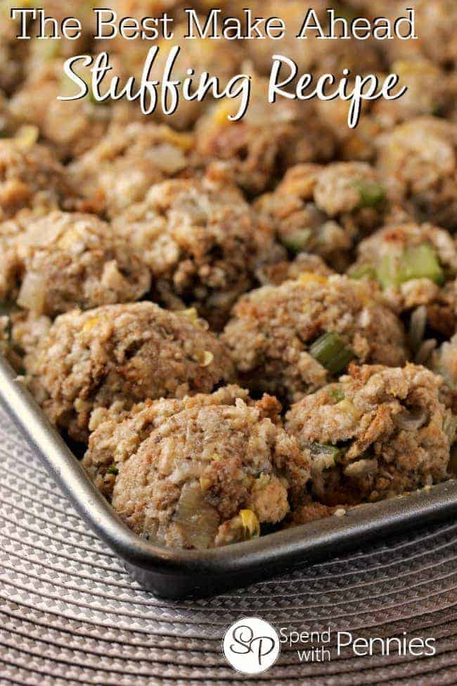 Make ahead turkey stuffing on a baking sheet with celery, bread, and other delicious ingredients.