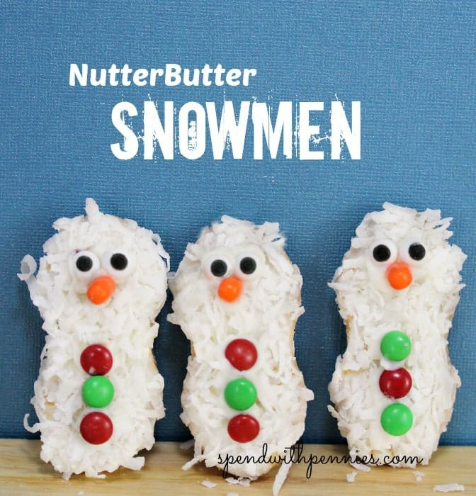 three nutter butter snowmen