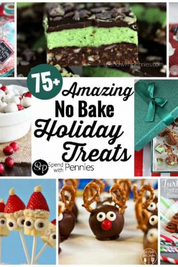 collage of no bake holiday treats including mint nanaimo bars, turtle pretzel bit4es and snowman Oreo cookie balls