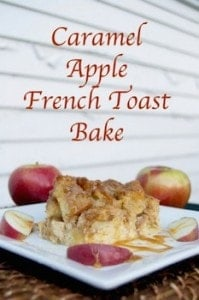 caramel apple French toast bake on a plate
