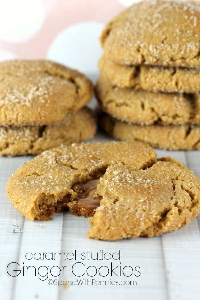 Caramel Stuffed Ginger Cookies - Spend With Pennies