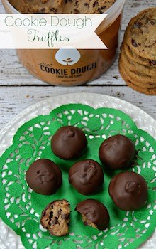 cookie dough truffles on a green doily