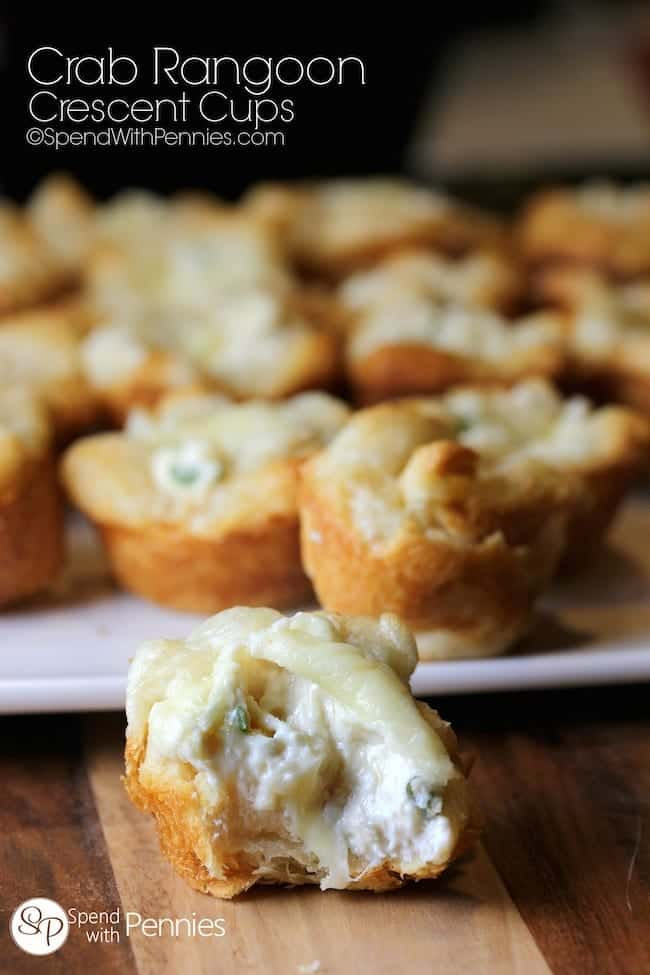 Crab Rangoon Crescent Cups!  Easy to make crispy crescents filled with a creamy crab rangoon filling.  These will be the first appetizer gone at any party!