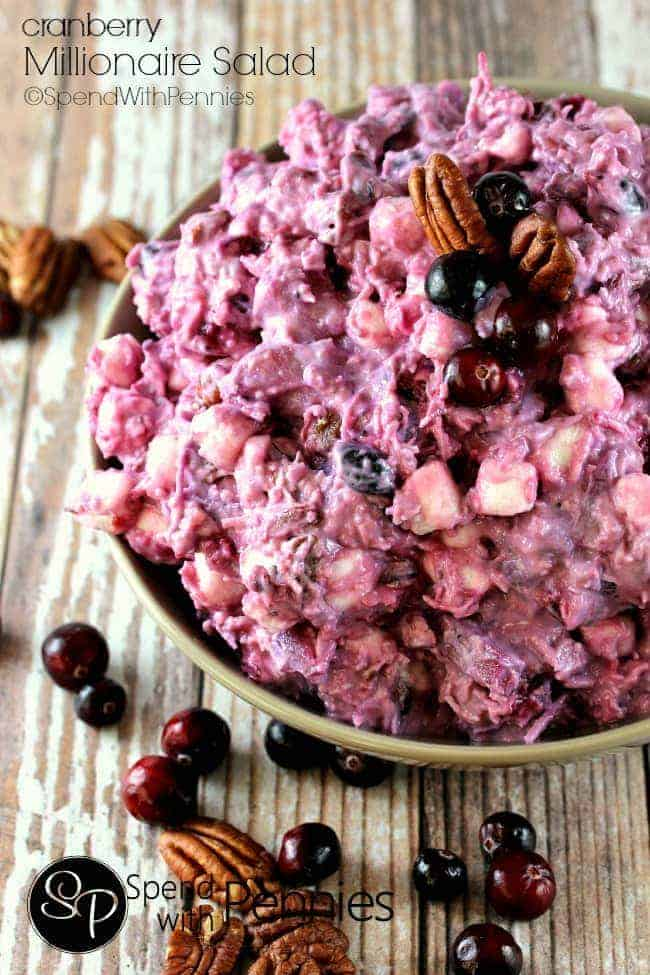 Cranberry Millionaire Salad is one of our favorite sides to have with turkey dinner... and it's so good my girls eat the leftovers for dessert!