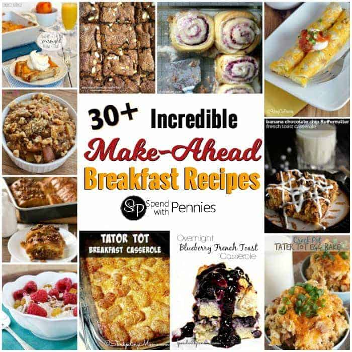 collage of mac ahead breakfasts including tator tot casserole and blueberry overnight French toast casserole