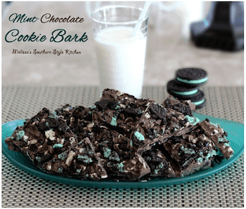 Mint-Chocolate Cookie Bark with a glass of milk