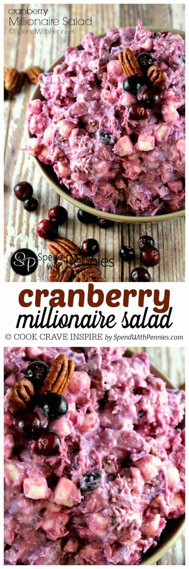 a cranberry salad with pecans with a title