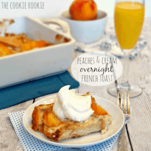 peaches & Cream overnight French toast with a mimosa