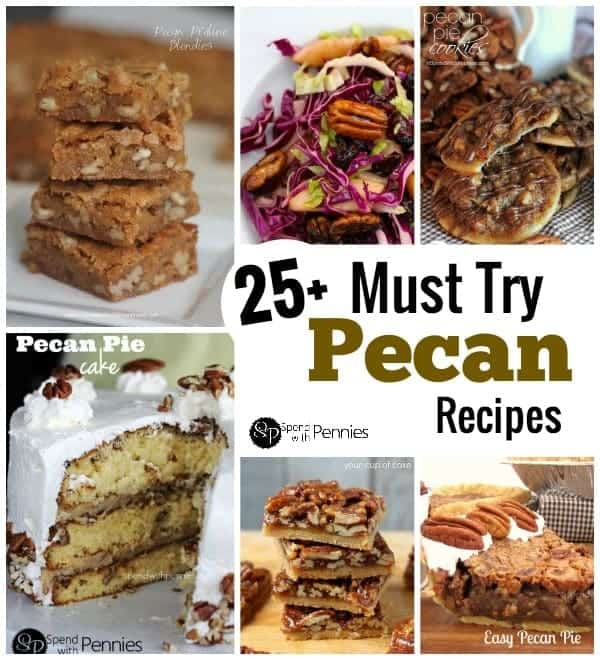pecan recipe collage, including pecan pie cookies, easy pecan pie and pecan pie cake