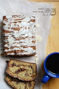 banana sour cream coffee cake slices