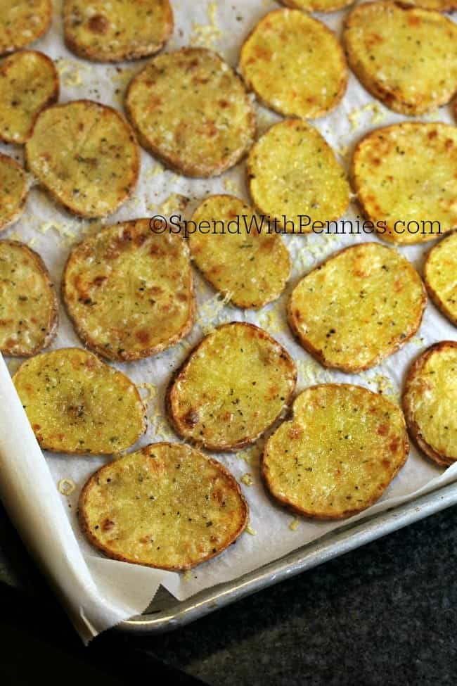 closeup of crispy Parmesan Potatoes