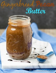 gingerbread pecan butter in a jar