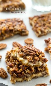 honey pecan pie cheesecake bars