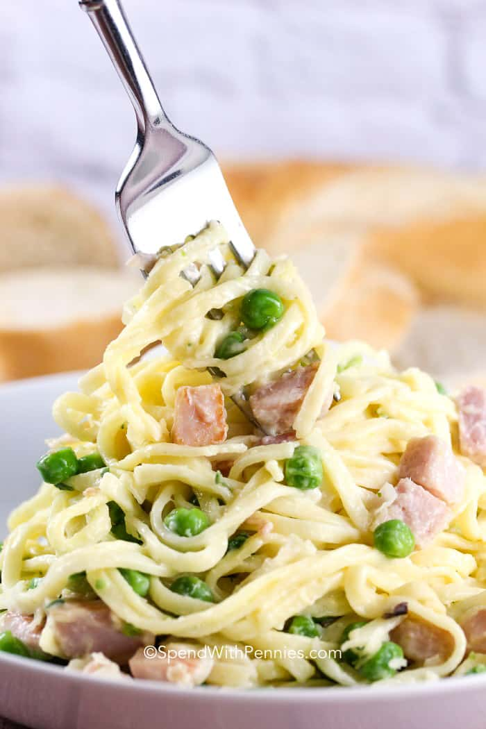 Linguine Carbonara in a bowl with a fork