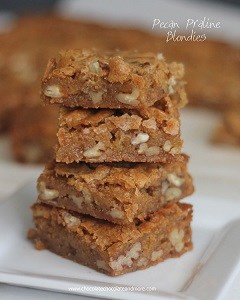 stack of pecan praline blondies
