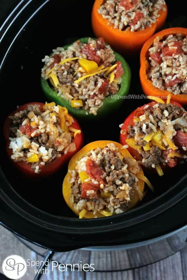 Crock Pot Stuffed Peppers placed inside a slow cooker