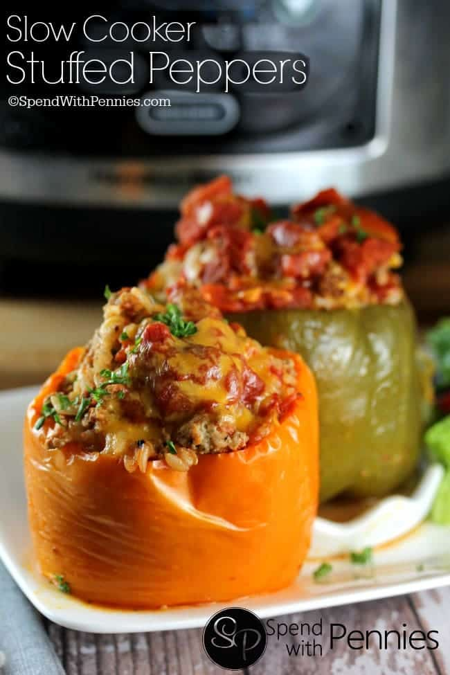 Crock Pot Stuffed Peppers! Easy stuffed peppers made in a slow cooker