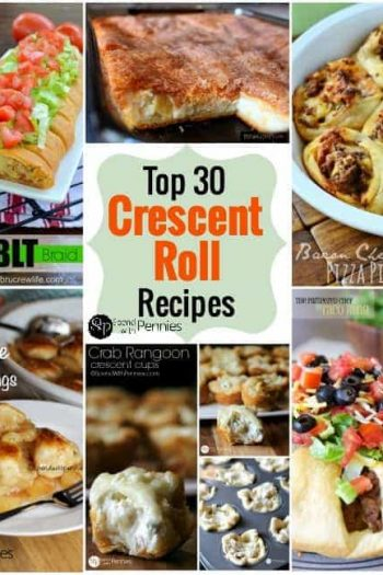 collage of crescent rolls recipes including. apple pie dumplings, pizza pinwheels and crab rangoon crescent cups