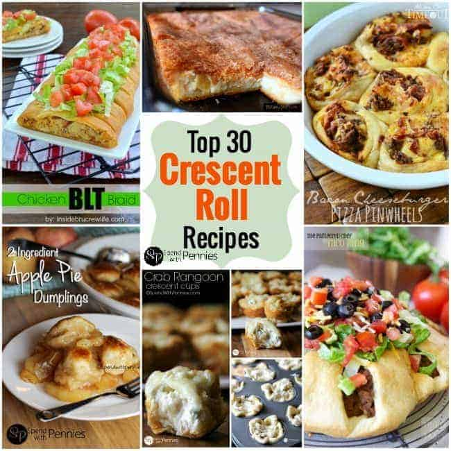 Top 30 Crescent Roll Recipes!  Sweet, savory and everything in between, crescent rolls are perfect for appetizers, snacks and meals!