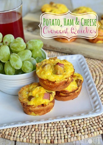 potato, ham and cheese crescent quiches. on a plate with grapes on the side