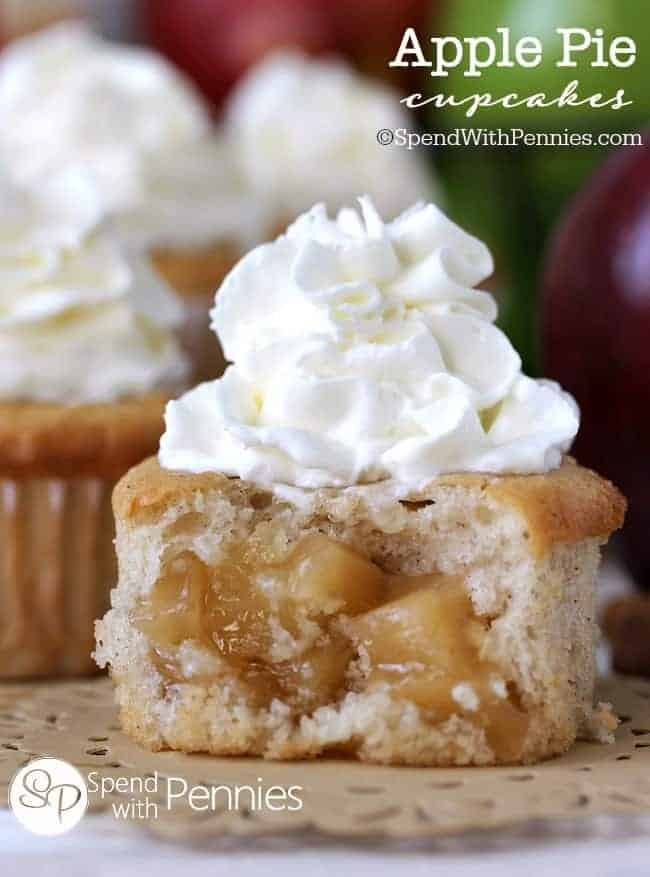 close up of the inside of an Apple Pie Cupcake
