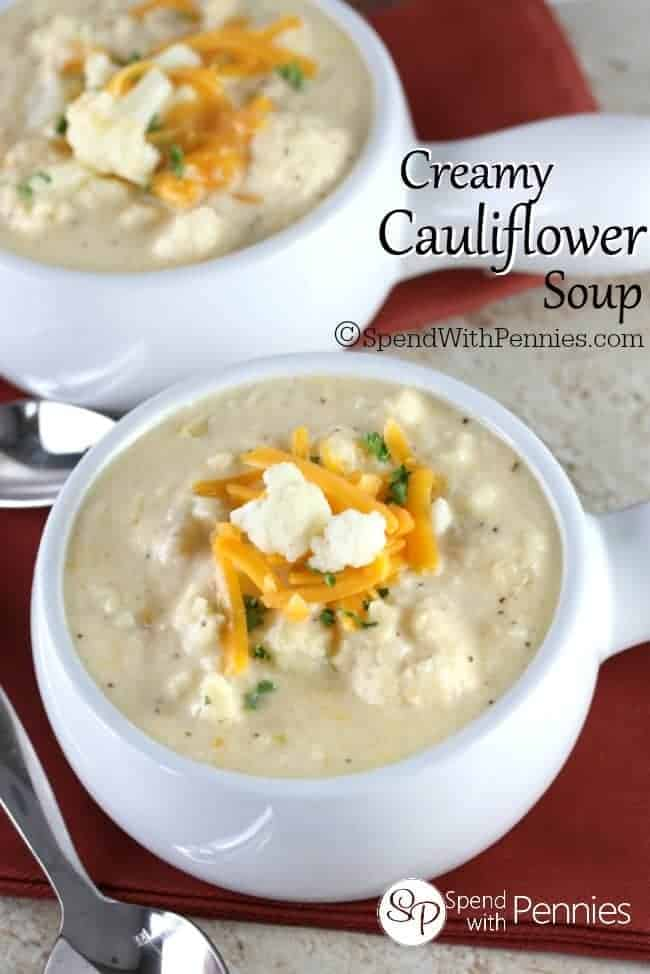Delicious and easy cauliflower soup loaded up with cheese and fresh cauliflower.  This cheesy velvety soup makes the perfect lunch or dinner!