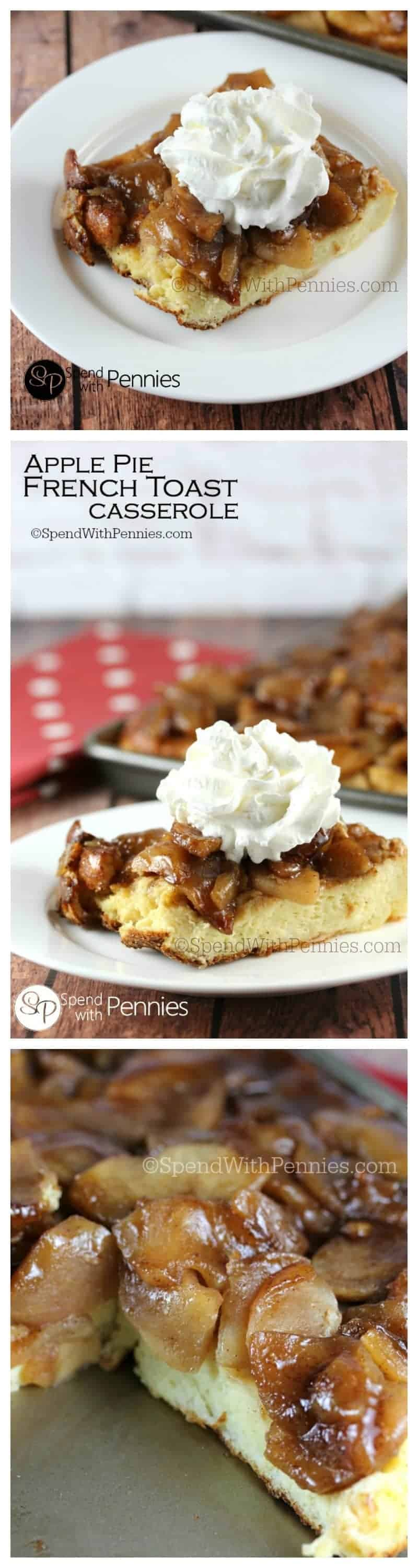 Apple Pie French Toast Casserole is a delicious overnight breakfast recipe. If you're looking for the perfect make ahead breakfast to serve for a holiday breakfast this is it!