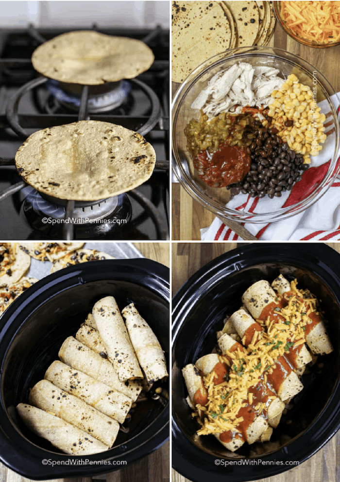 Slow Cooker Chicken Enchilada ingredients in a glass bowl, tortillas being grilled, enchiladas in a crock pot and enchiladas in a crock pot with sauce and cheese