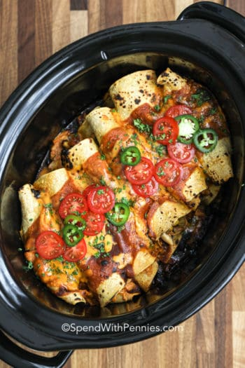 Slow Cooker Enchiladas with jalapenos and tomatoes