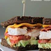 Avocado Chicken Club sandwich with rye bread