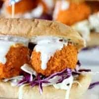 Buffalo Chicken Meatball Subs.  Perfect game day snack!