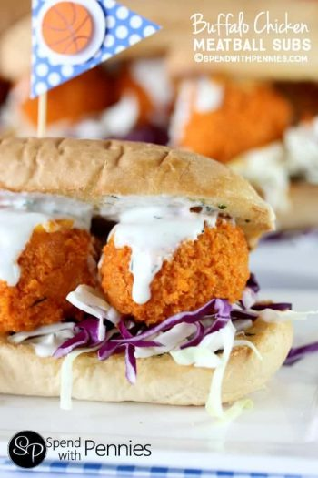 close up of Buffalo Chicken Meatball Subs
