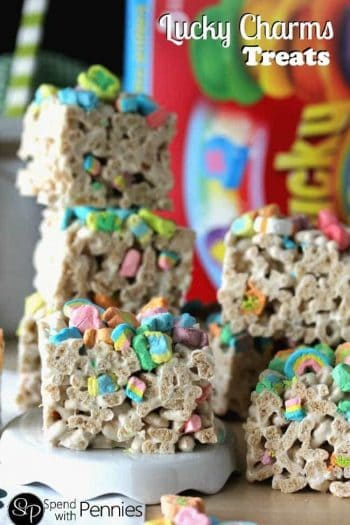 cut bars of Lucky Charms Treats
