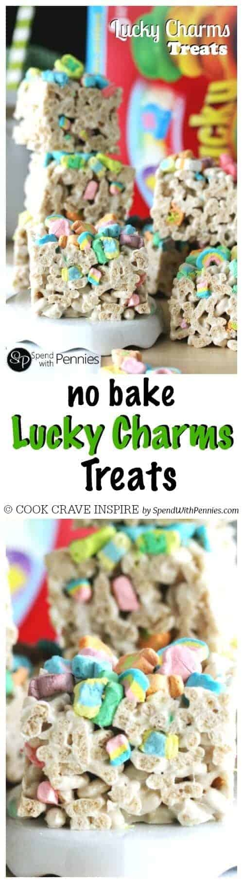 Lucky Charms Treats are the perfect no bake after school or lunch box snack. These take just a few minutes to make and of course the kids love 'em!