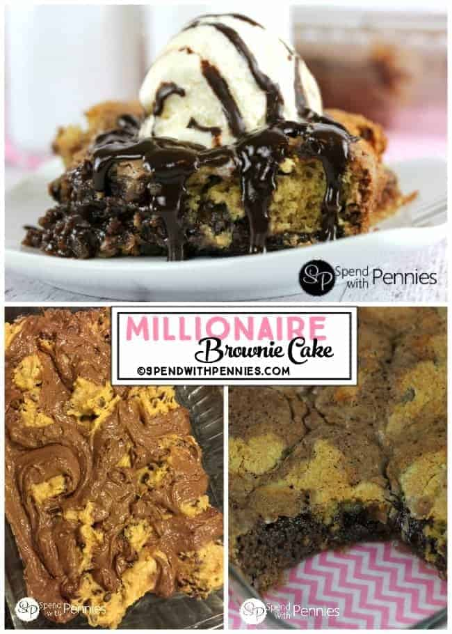 Millionaire Brownie Cake collage, with ice cream and in the pan