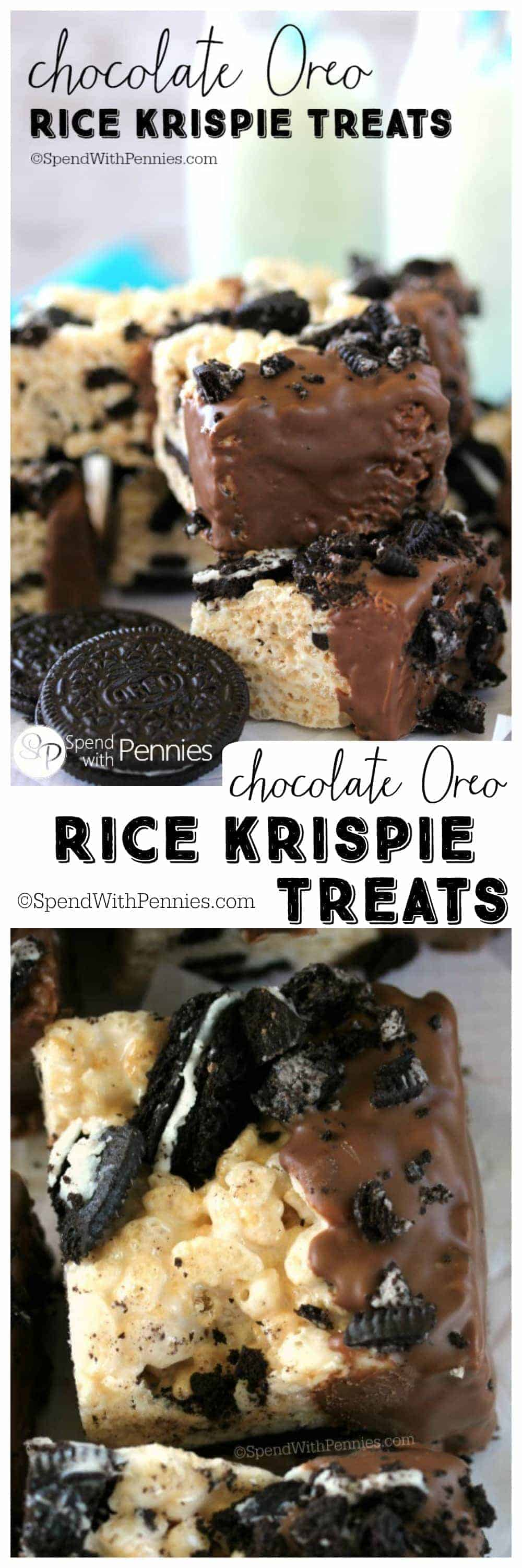 Chocolate Oreo Rice Krispie Treats combine our favorites; Rice Krispie Treats, Oreo Cookies and chocolate all in one easy to make no-bake square!