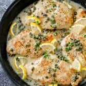 Overhead view of Chicken Piccata in the pan